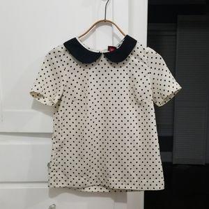 Polka dot Peter pan collared shirt